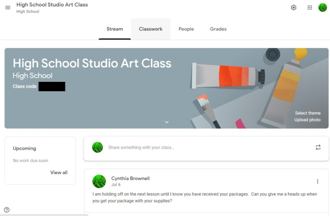 sample google classroom
